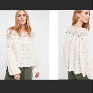 Free People White Knit Crochet Someday Sweater